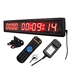 Ledigtal LED Days Countdown Clock Red Color 1.8 10 Digits Count up to 10000 Days with Hours Minutes Seconds LED Large Digital Countdown Clock IR Remote Control Aluminum Case
