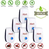 JUZIHAO 2018 UPGRADED Ultrasonic Pest Repeller- Electronic Mice Repellent Plug In for Insect Mice Mouse Bed BugsFleaFlySpiders Mosquitoes Roaches Ants Eco-FriendlyHumans&Pets Safe-[6-Pack]