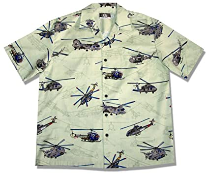 9488923ed Amazon.com: Helicopters Men's Hawaiian Aloha Shirt in Green - Small ...