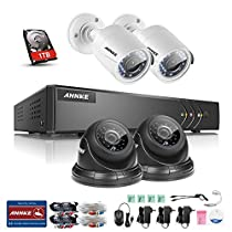 ANNKE 4CH 1080P Lite DVR Security Camera Systems with 1TB HDD and (4) 720P In/Outdoor Cameras, All-weather Adaptation, Email Alert with Images, Support AHD/ TVI/ Analog/ IP Camera