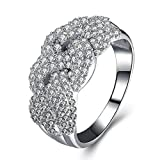 AmDxD Jewelry Silver Plated Women Promise Customizable Rings Wide Brimmed?CZ Size 8.5