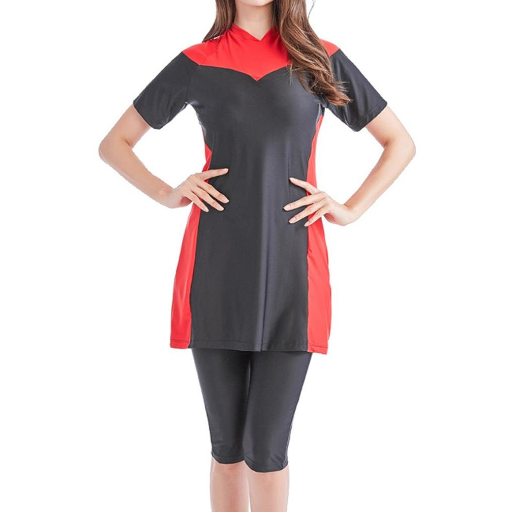 Hot!Todaies Muslim Women Modest Swimwear Islamic Short Sleeve Top+Pants Swimwear Swimsuit (L, Red)