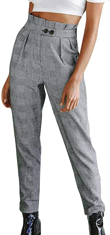 Pantalon Femme, Rayé Taille Haute Slim Casual