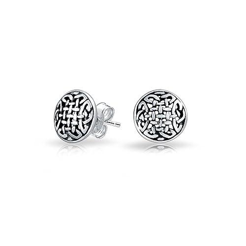 fd2ce427ebb9 Bling Jewelry Aretes Dormilonas Stud Pequeños Redondos Nudos Celtas  Triquetra Plata de Ley