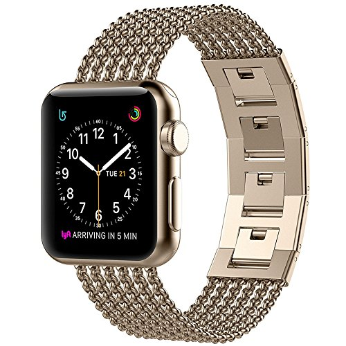 (Glebo Compatible with Apple Watch Band 42mm 44mm Gold, Stainless Steel Metal Band Replacement Wristband Bangle Bracelet Strap Accessories for iWatch Band 42mm 44mm Series 4 3 2 1, Champagne Gold)