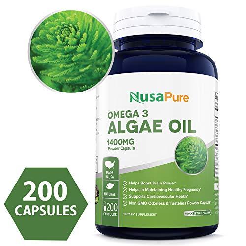 Omega 3 - Algae Oil 1400mg 200 Powder Capsules (Non-GMO & Gluten Free), Algae DHA EPA Supplement. Supports Heart, Brain, Joint, Prenatal & Immune System - 100% Money Back Guarantee! (3 From Dha Algae Omega)