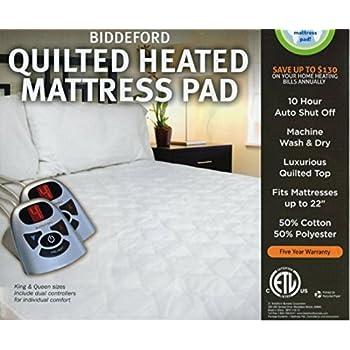 Amazon Com Biddeford Heated Quilted Mattress Pad King