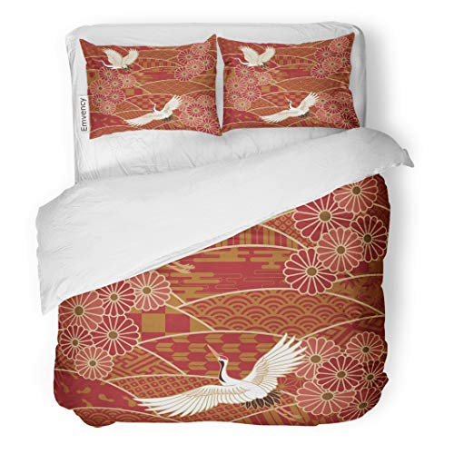 Emvency Decor Duvet Cover Set Full/Queen Size Bird Two Cranes and Chrysanthemums Japanese Traditional Wave Pattern Illustration 3 Piece Brushed Microfiber Fabric Print Bedding Set Cover