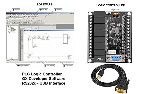 PLC Ladder Logic Programmable Controller & Software Starter Kit 24V, 12 Inputs, 8 Relay Outputs USA (Inputs 8 Relay)