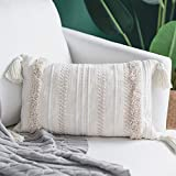 blue page Woven Tufted Throw Pillow Covers with Tassel - Fringe Sofa Couch Cushion Cover Decorative Square Cotton Pillows Cover (Cream 18x18 inches)