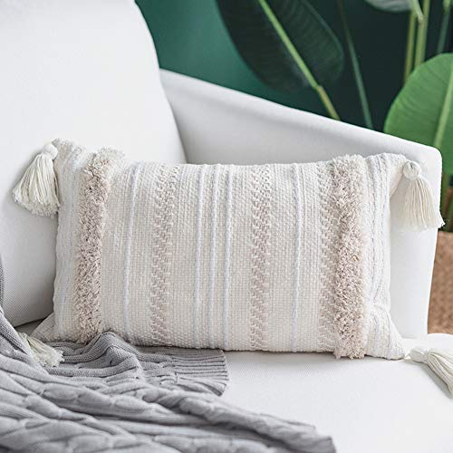 blue page Lumbar Small Decorative Throw Pillow Covers for Sofa Couch Bedroom Living Room, Woven Tufted Boho Pillow Cases, Rectangle Pillows Cover with Tassels (12X20 inch, Cream) (Pillows Accent Beige)