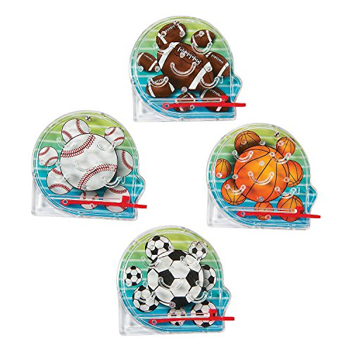Mini Sports Pinball Games 2 Inches - Pack Of 8 Assorted Colored Sports Balls Pictures - Mini Pinball Bagatelle Game - For Kids Great Party Favors, Bag Stuffers, Fun, Toy, Gift, Prize - By Kidsco (Pinball Sports Games)