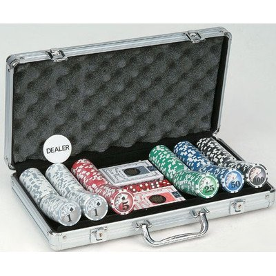 (300 Piece Big# Design Poker Chips in Aluminum Case, Silver Color)