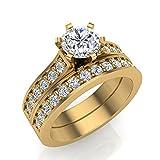 1.25 ct tw J I1-I2 Diamond Wedding Ring Set 14K Yellow Gold (Ring Size 8.5)