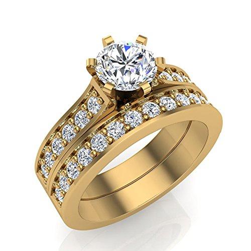 1.25 ct tw J I1-I2 Diamond Wedding Ring Set 14K Yellow Gold (Ring Size 8.5) by Glitz Design