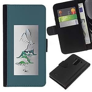 A-type (Paper Art Poster Japan Zen) Colorida Impresión Funda Cuero Monedero Caja Bolsa Cubierta Caja Piel Card Slots Para LG G3