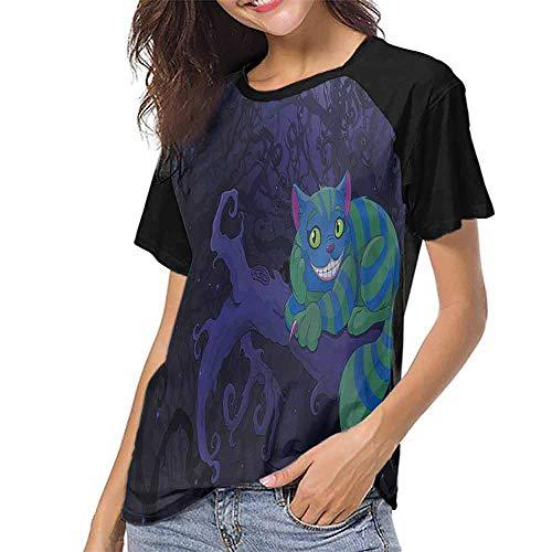 Casual T Shirts,Alice in Wonderland,Cat on Tree S-XXL Tee Tshirts Women]()