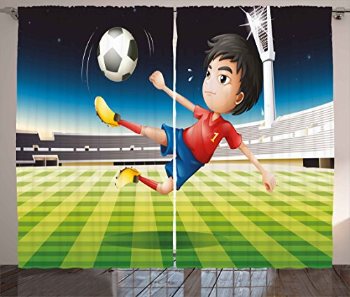 2 Sports Window Graphics (Kids Curtains by Ambesonne, Young Boy Playing Football in the Stadium Athlete Sports Soccer Championship Graphic, Living Room Bedroom Window Drapes 2 Panel Set, 108W X 84L Inches, Multicolor)