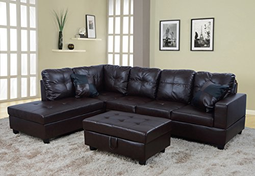Beverly Furniture 3 Piece Faux Leather Right-facing Sectional Sofa Set with Ottoman, Chocolate, NA