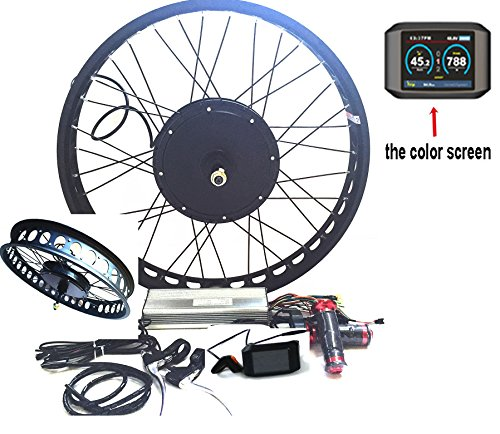 theebikemotor 3000W Hub Motor Electric Bike Conversion Kit + LCD+ Disc Brake Rear Wheel (26 4 Fat Wheel + 7 Speed Gear, 48V3000W + TFT Display)