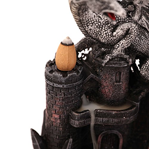 Woobud Dragon Castle Incense Holder & Burner Combo Statue for Cones with Decorative Display Stand As Gothic Home Decor Aromatherapy Sculptures and Medieval Fantasy Gifts + 10 Cones