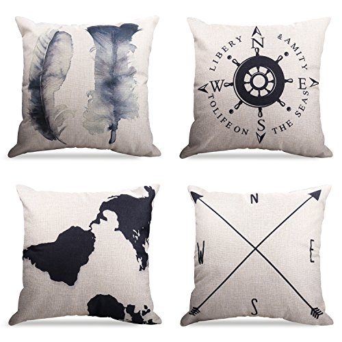 WEYON Geography Theme Throw Pillow Covers Home Decorative 18 X 18 Inch Cotton Linen Cushion Covers Set of 4 (Dog Themed Bedrooms)