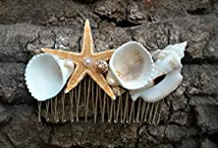 Seashell comb, Mermaid hair, starfish