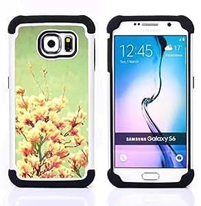 GIFT CHOICE / Defensor Cubierta de protección completa Flexible TPU Silicona + Duro PC Estuche protector Cáscara Funda Caso / Combo Case for Samsung Galaxy S6 SM-G920 // Vintage Pastel Pink Snapdragon //
