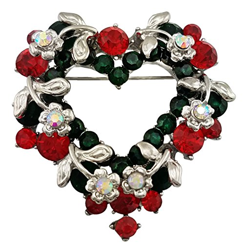 SELOVO Silver Tone Heart Wreath Christmas Brooch Pin Green Red Austrian Crystal