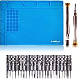 DREMINOVA Heat Soldering Repair Mat/Pad With 24 Bits Repair CellPhone Silicone Work Mat With Portable Screwdriver Set For Small Electronics Computer eyeglasses Watch Iron Gun Desk Workbench Solder Mat