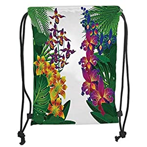 Leaf,Flower Kahili Ginger Bamboo and Orchid Vivid Colored Tropic Accents Decorative,Purple Yellow and Dark Green Soft Satin,5 Liter Capacity,Adjustable St 39