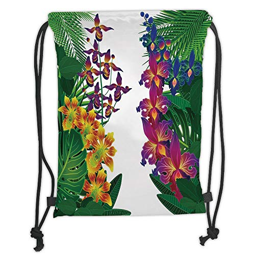 New Fashion Gym Drawstring Backpacks Bags,Leaf,Flower Kahili Ginger Bamboo and Orchid Vivid Colored Tropic Accents Decorative,Purple Yellow and Dark Green Soft Satin,Adjustable St