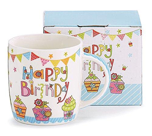 - Burton & Burton 9727484 Happy Birthday Bone China Mug, 3 1/2