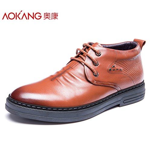Aemember Scarpe Uomo Inverno Scarpe Uomo Scarpe di Cotone alta per aiutare il business casual scarpe Autunno Inverno ,43, marrone