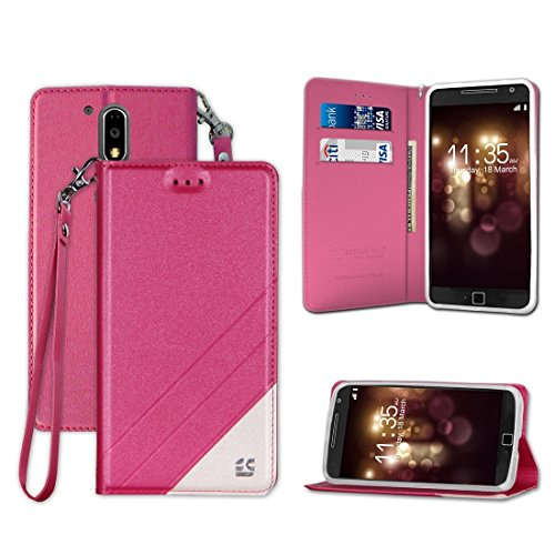 PimpCase Designed for Moto G4, Moto G4 Plus, G Plus (4th Gen), XT1644, Slim Design Synthetic Leather Flip Wallet Cover with Stand Feature Magnetic Closure Detachable Wrist Strap - Pink -  IFMG4P14-C=LX