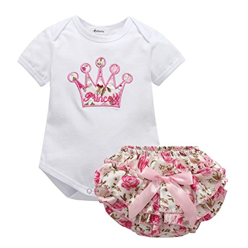 bc98d0d41b44 Newborn Baby Girls Romper Crown Princess Onesies +Pink Floral Shorts ...