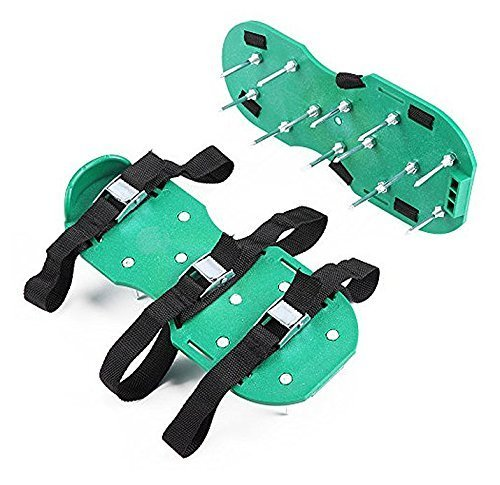 SCHOME Lawn Aerator Shoes Heavy Duty Spiked Sandals Metal Buckles and 3 Straps for Aerating Your Lawn or Yard