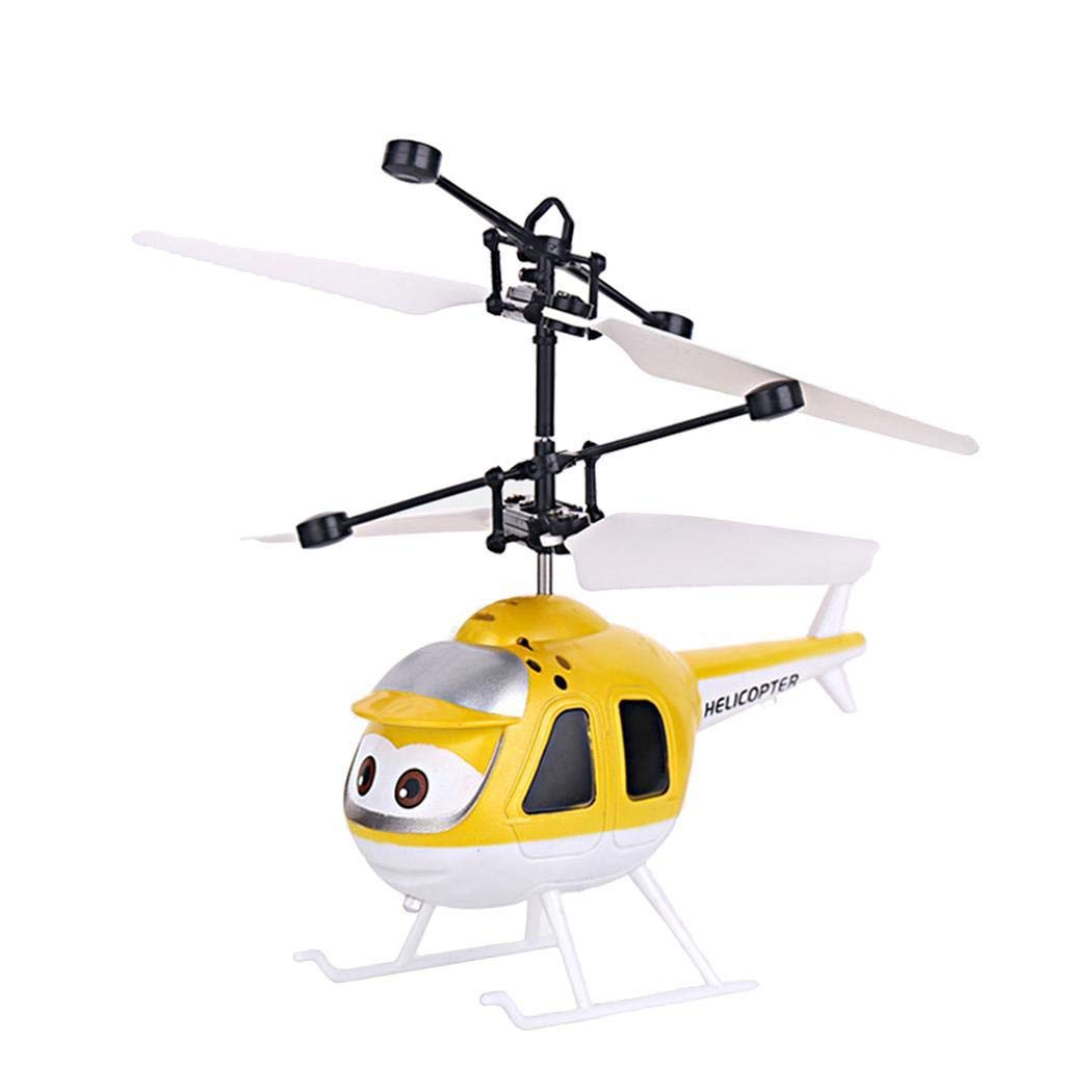 comfi1 Kids Infrared Induction Helicopter Drone Gravity Sensor Charging Floating Suspension Flying Toys (Yellow)