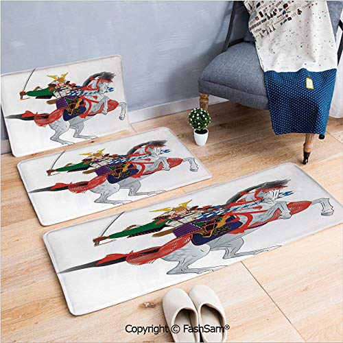 FashSam 3 Piece Non Slip Flannel Door Mat an Asian Soldier with Local War Clothes Armour Riding a Prancing Horse Illustration Indoor Carpet for Bath Kitchen(W15.7xL23.6 by W19.6xL31.5 by W35.4xL62.9)