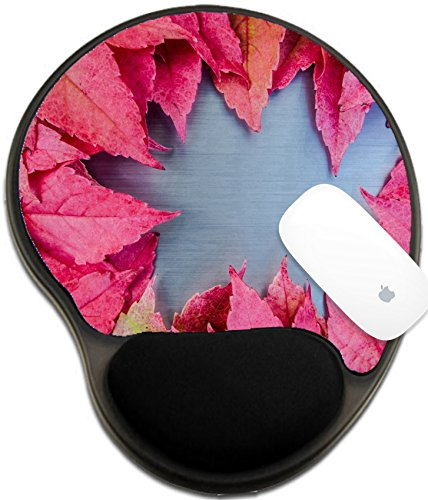 Luxlady Mousepad wrist protected Mouse Pads/Mat with wrist support design IMAGE ID: 23000093 Autumn leaves on brushed metal (Brushed Metal Gold Background)