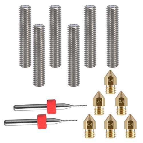 EAONE 6pcs 30MM Length Extruder 1.75MM Tube and 6pcs 0.4MM Brass Extruder Nozzle Print Heads for MK8 Makerbot Reprap 3D Printers (Bonus: 2pcs Cleaning Drill Bits)