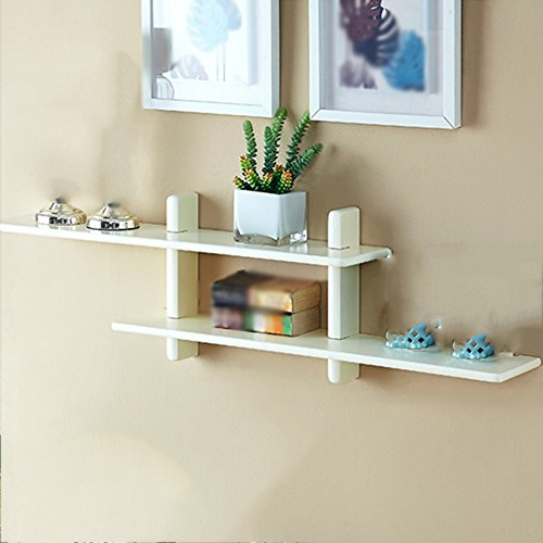 Shelf Solid Wood On The Wall White Walnut Storage Simple Partition Home Decoration Bedroom (Color : White)