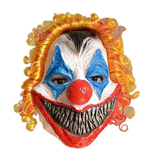 Fancy Dress Latex Masks (Freahap Halloween Mask Latex Clown With Hair For Fancy Dress Decorations Props)