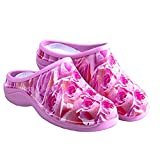 Backdoorshoes Waterproof Premium Garden Clogs with Arch Support -Pink Rose Design (6, Pink Roses)
