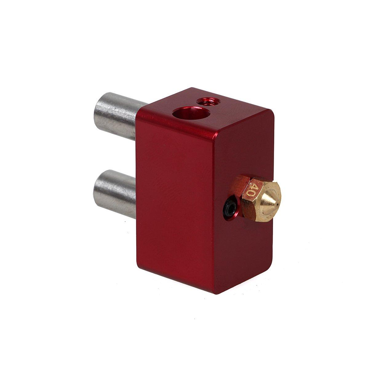 Pièces de rechange pour imprimante 3d E3D Cyclops 2en 1sortie Hotend kit Multi Couleur d'extrémité chaude Bloc de chauffage Buse Couleur Rouge 0, 4mm/1.75mm 4mm/1.75mm szsdsway