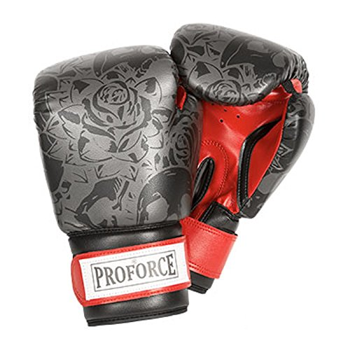Pro Force Leatherette Boxing Gloves with White Palm (Black Skull w/Roses, 12 oz.)