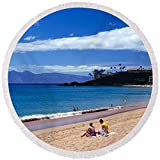 Pixels Round Beach Towel With Tassels featuring ''Tourists On The Beach, Maui, Hawaii, Usa'' by Pixels