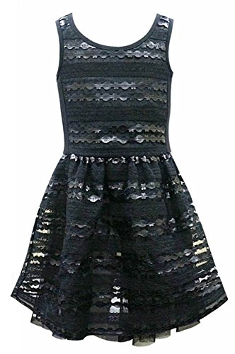 Hannah Banana Big Girls Tween Faux Leather Party Dress, 7-16 (16, Black) (Tween Party Dress)
