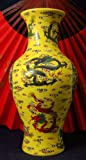 Yellow Porcelain Dragon Vase with Wide Mouth