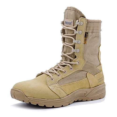 IODSON Men's Ultralight Combat Boots, Breathable Military Boots, Special Force Training Shoes, Shock-Absorbing Tactical Boots(10.5D(M) US, Beige)